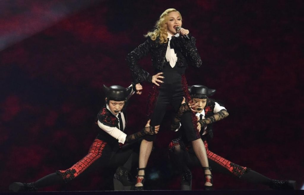Singer Madonna performs at the BRIT music awards at the O2 Arena in Greenwich, London