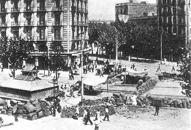 Вид Рамблы во время Гражданской войны в Испании