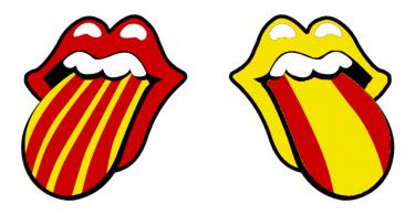 картинка двух языков в стиле флага Каталонии и Испании