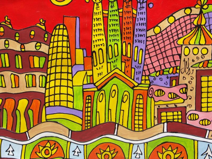 разноцветная картина Барселоны