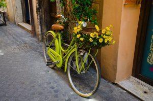 припаркованный салатовый велосипед с цветами