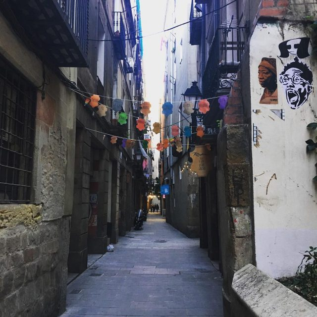 The narrow streets of Barcelona