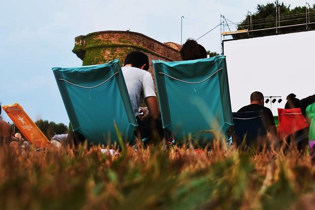 спинки низких стульев на траве