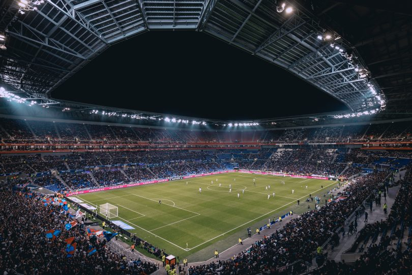 вид на стадион Камп Ноу в Барселоне