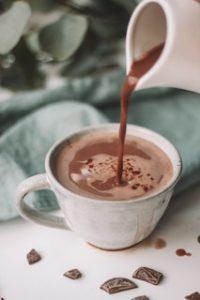 в чашку наливается горячий шоколад