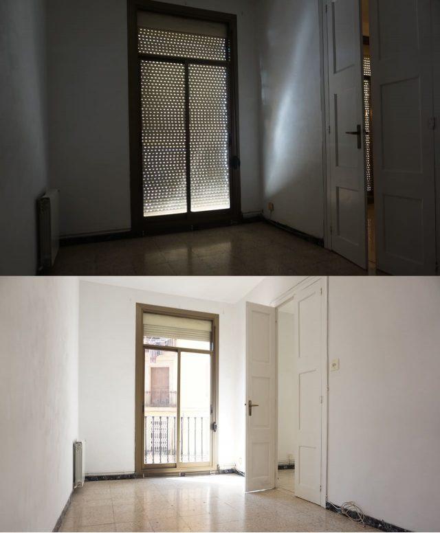 два фотографии одного помещения с разных освещением