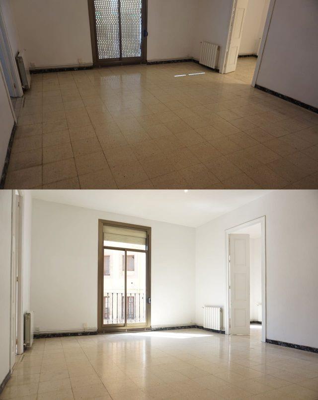 две фотографии одного помещения с разным освещением
